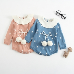 stylish dotted and pompom long-sleeve overalls jumpsuit for baby