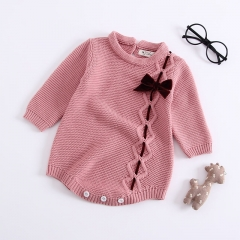 bowknot long-sleeve onesie pullover for baby autumn
