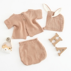 3-piece baby knitted sweater set with hat for baby going-out