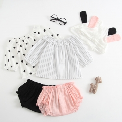 3-piece short sleeve top and pure color shorts for baby girl