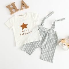 fashionable sets for baby boy letter print Tee strip shorts in summer