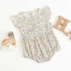 baby flora print design overalls jumpsuit for 0-2 years old girl