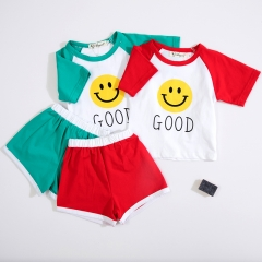 smile print design unisex baby sets in summer