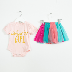 2-piece party wearing pink top and rainbow skirt for baby girl 0-3 years old