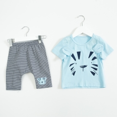 tiger print short-sleeve Tee and lattice short-pants sets for baby boy in summer
