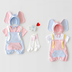 baby cotton solid overalls backless romper in summer with elephant design hat