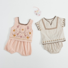 ethnic style embroidery design top and short-pants sets for baby in summer