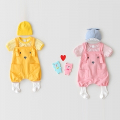 dog pattern design strap romper with T-shirt sets for baby 0-2 years