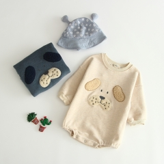 lovely dog wool-in with flocking long-sleeve baby rompers