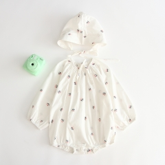 2019 new arrival autumn 100% pure cotton flower print romper with hat