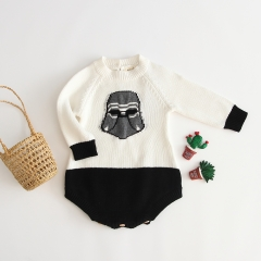 embroidery round-collar & long-sleeve sweater romper for baby in spring autumn & winter