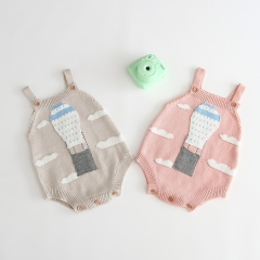 hot air balloon pattern condole belt knitting romper for baby 0-2 years old