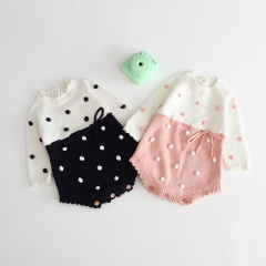 handmade bubble ball long-sleeve romper for 0-2 years baby autumn clothing