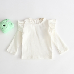 flutter long-sleeve autumn white T-shirt for baby 0-2 years old