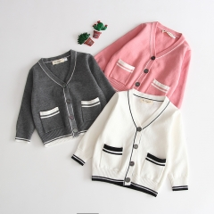 baby autumn V-collar double pockets rib sandwiched color cardigan