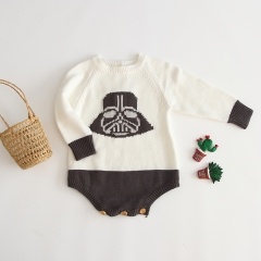 simple design elegant lines subtle matching long-sleeve knitting sweater for baby 0-2 years old