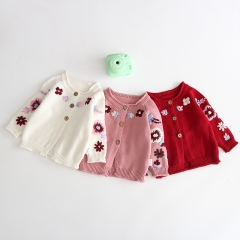 embroidered flowers round-collar long-sleeve coat for baby girl wholesale