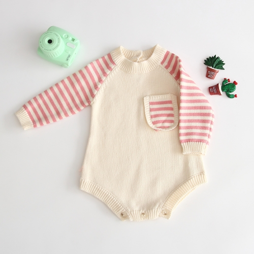 pocket front design long-sleeve splicing romper for wholesale baby 0-2 wholesale
