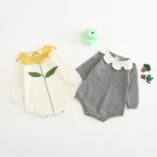 floral collar long-sleeve warmful romper for baby girl 0-2 years wholesale