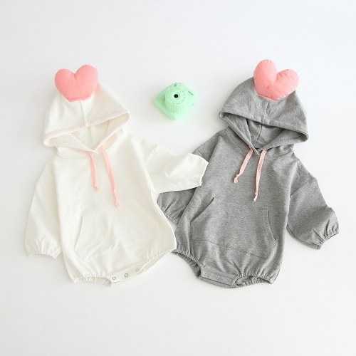 three-dimensional heart hoodie romper for baby girl in autumn wholesale