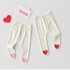 korea style heart print leggings for infant baby daily wearing wholesale
