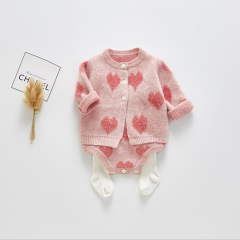 2019 infant baby heart print coat with straps belt romper in sets wholesale