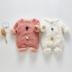 2019 new arrival winter infant baby lamp plush outfits long-sleeve romper wholesale