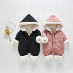 infant baby winter cotton-padded jacket with hat design wholesale