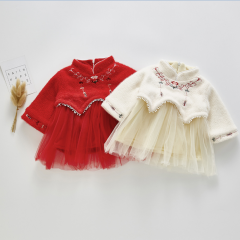 embroidery version net yarn splicing dress for baby girl in China new year wholesale