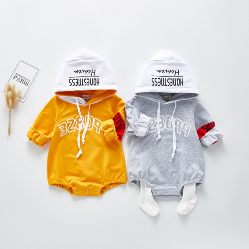 infant baby boy hip-pop trend pure cotton hoodie romper in spring & autumn wholesale