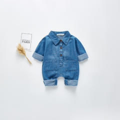 2020 spring infant unisex baby 0-2 years long-sleeve cowboy jumpsuit wholesale