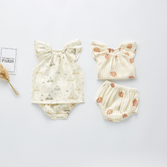 2-pieces infant baby sets with lovely print design wholesale