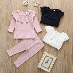 2020 new arrival baby clothing sets top shirt and long pants 3-color baby sets wholesale