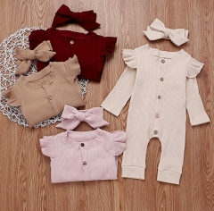 Newborn Baby Girls Spring Autumn Jumpsuit with headband Flying Long Sleeve Solid Infant Clothing Baby Girls Rompers Jumpsuit wholesale