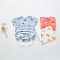 Printed cotton short sleeve baby rompers wholesale 100% cotton infant clothes newborn baby romper