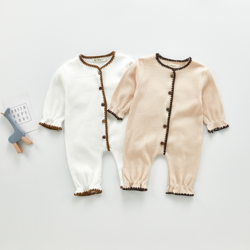 Custom newborn baby spring autumn clothes romper unisex knitting long sleeve lovely solid romper wholesale