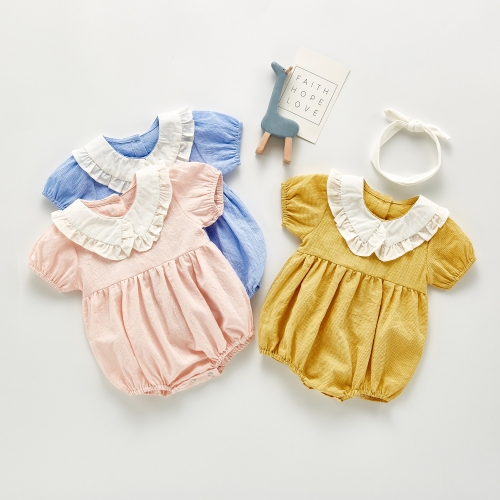 2020 short Newborn Baby Clothes grid cotton Summer Rompers Kids Baby Girl Jumpsuit Toddler Costume for girls romper wholesale