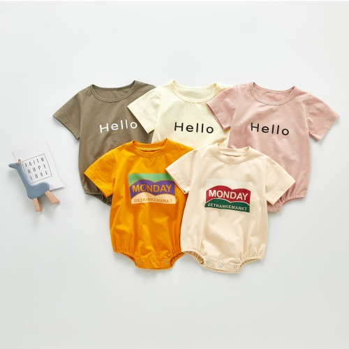 Hello Monday Boy Bodysuit Newborn Baby Boy Short Sleeve Letter Print Romper Fun Baby Clothes 0-24M