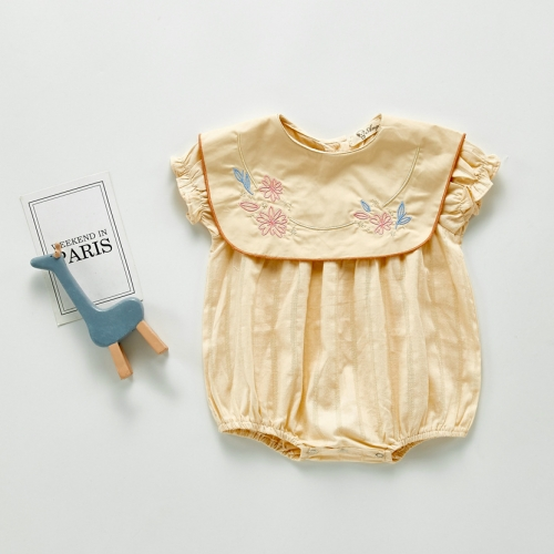 2020 summer short sleeve baby girl baby Korean version embroidery princess collar 100 days baby Romper clothing wholesale