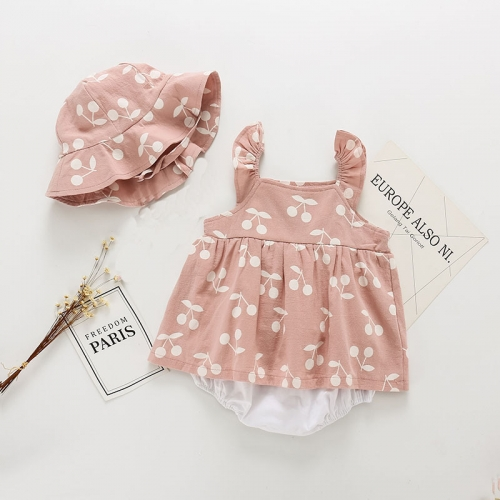 Boutique Clothing Outfits Sleeveless Dress with Hat Baby Girl Set Summer Wear Wholesale