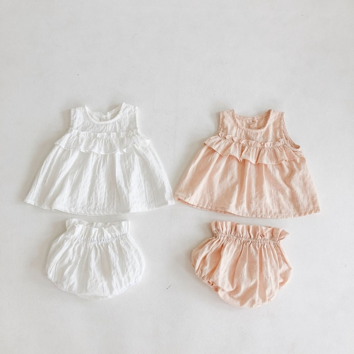 Girls lovely stripe solid color top & bottom sets princess sets pure cotton girls' sets  Wholesale