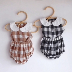 Baby clothes Summer T-shirt & Short Pants plaid baby sets doll collar newborn baby bodysuit sanding wholesale