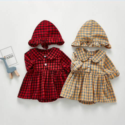 2020 new season products infants and young children plaid hakama skirt baby long-sleeved hakama full moon crawling clothes out clothes wholesale