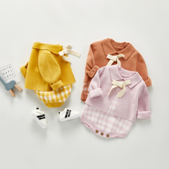 Angoubebe 2020 autumn new product baby suit plaid vest romper two-piece jacket wholesale