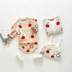 2020 infants and toddlers 3-6-9 months baby romper apple jacket one-piece suit wholesale