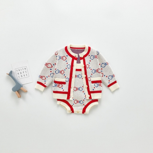 2020 infants and toddlers 3-6-9 months baby suit jacquard jacket two-piece romper with suspenders wholesale