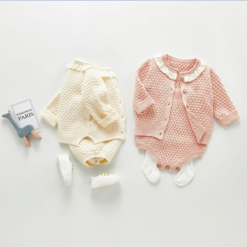 ins hot-selling autumn baby suit girl baby sling romper coat two-piece sweater single shot wholesale