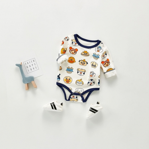 spring autumn and winter 3-6-9 months cotton baby romper pajamas newborn long-sleeved romper outing clothes wholesale