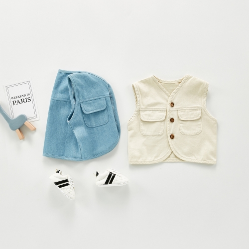2020 autumn baby denim vest jacket children's vest children's baby loose waistcoat Korean style tide wholesale