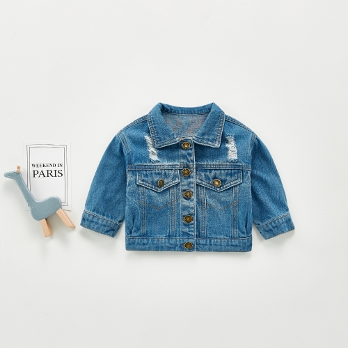 INS spring and autumn baby cartoon denim jacket baby casual jacket girls autumn Korean jacket wholesale